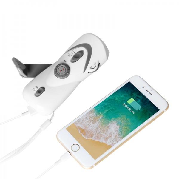 Dynamo Crank Hand Flashlight FM Radio high sensitive With USB ChargingHoliday Gift
