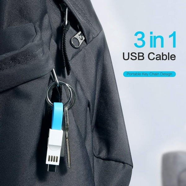 Keychain Charger IOS Type C Micro USB 3 in 1 Multi Fast Charging Cable Portable Travel Charging Cord Magnetic Contingency Spare Charged Cable for iphone ios Android All Smartphones