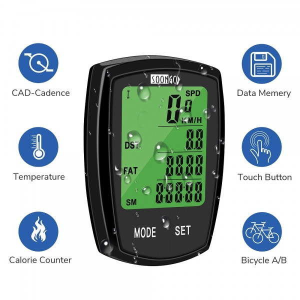 SOON GO Bicycle Speedometer Wireless Bike Computer Cadence IPX6 Waterproof Bike Odometer Speedometer Multi-Functions with Backlight, Temperature, Bicycle A/B, Stop Watch, Calorie Counter