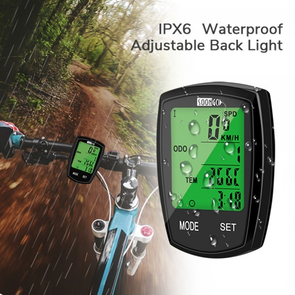 SOON GO Bicycle Speedometer Wireless Bike Computer Cadence IPX6 Waterproof Bike Odometer Speedometer Multi-Functions with Backlight, Temperature, Bicycle A/B, Stop Watch, Calorie Counterbike computer