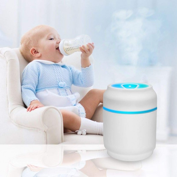 SOON GO Cool Air Mist Ultrasonic Humidifier with Color Lights USB Fan Desktop Can Humidifier 200ML Portable Purifier for Cars, Office, Home, Bedroom, Travel and More