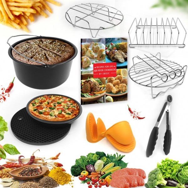 Universal Air Fryer Accessories 7 Inch Pizza Pan Cake Barrel Skewer Rack Silicone Mat Kitchen Tong Metal Holder Toast Rack Pinch Mitts Fit All 3.7QT/5.3QT/5.8QT