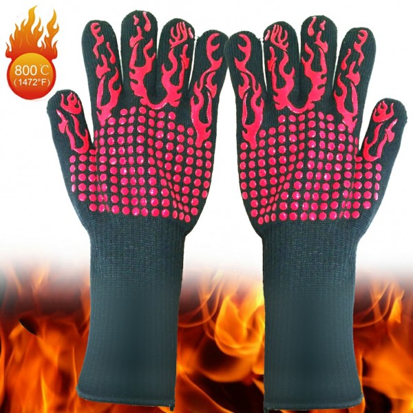 BBQ Grill Gloves, 1472°F Extreme Heat Resistant Gloves Non-Slip Insulated Oven Mitts Potholder Perfect for Barbecue Grilling Cooking Baking Kitchen Smokers 1 Pairkitchen
