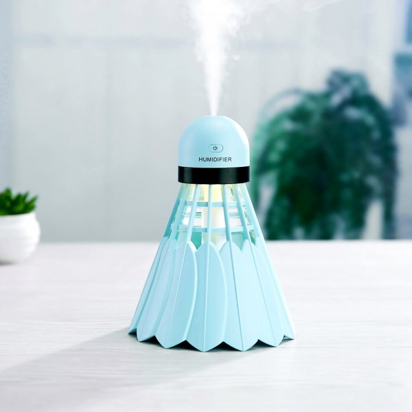 USB Portable Badminton Ultrasonic Air Humidifier with On/Off LED Night Lights, 240ml USB   Portable Mist Air Humidifier for Home, Car, Office, Bedroom, Baby Room, OutdoorHoliday Gift