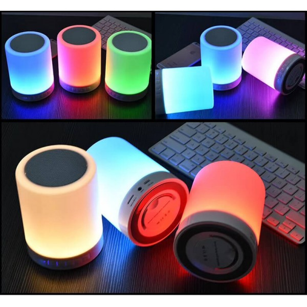 Night Light Bluetooth Speakers,Hi-Fi Portable Wireless Stereo Speaker with Touch Control 7 Dimmable Color LED Table Lamp with TF Card/AUX-IN Supported,Best Gift for Women and Children