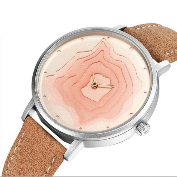 New Arrival Volcanic Pattern Fashion Quartz Waterproof Geninue Leather Wristwatch