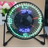Desktop USB LED Clock Fan with Real Time and Temperature
