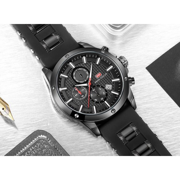 Mens Chronograph Analog Quartz Business Watch with Date Luminous Waterproof Silicone Strap Casual Dress Wrist Watches for family gift