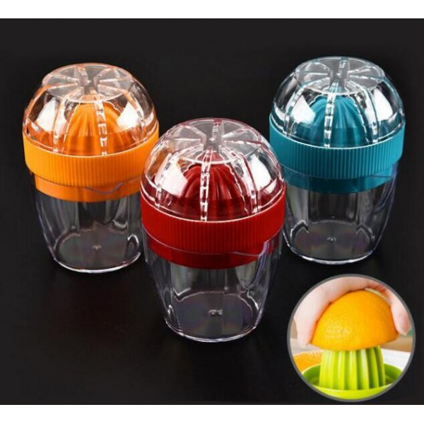 Good Grips Small Citrus Lemon Orange Juicer Manual Hand Squeezer with Built-in Grater,Blue  ,Red and Orange