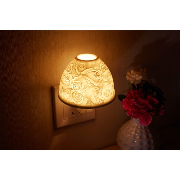 Exquisite Wall-mounted & Plug-in Hand-Made White Porcelain Night & Ambience Light, Pluggable Home Fragrance Diffuser, Bas-Relief Craft, No Flame, with One More Bulb