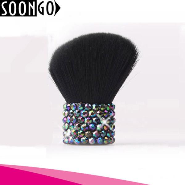 Kabuki Travel Foundation Brush for Powder Mineral Foundation Blending Blush Buffing Makeup Brush with Acrylic rhinestone