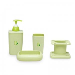 Bamboo Fiber Plastic Bathroom Accessory Set,  Bath Accessory Set With Stylish Lotion Bottle, Toothbrush Holder, Tumbler And Soap Dish