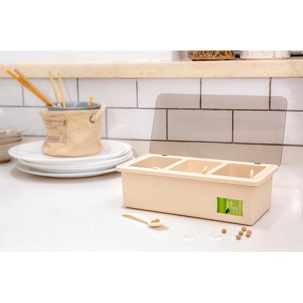 Bamboo Fiber Kitchen supplies Plastic Seasoning Box Set, Seasoning Set, Salt Sugar Spice Pepper Condiment Container Kitchen Cruet Seasonings Tools