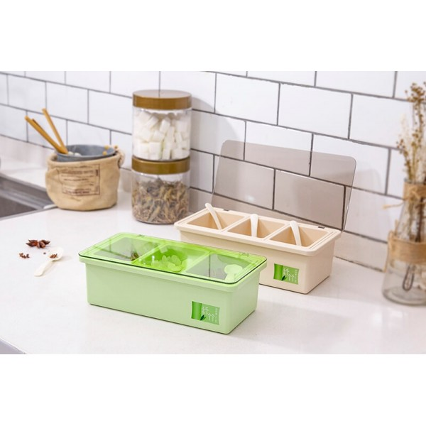 Bamboo Fiber Kitchen supplies Plastic Seasoning Box Set, Seasoning Set, Salt Sugar Spice Pepper Condiment Container Kitchen Cruet Seasonings Toolskitchen
