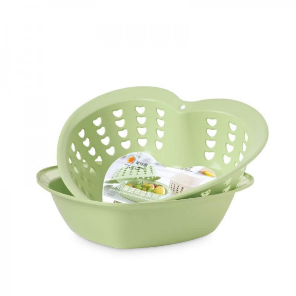 Bamboo Fiber Plastic 2-in-1 Multifunction Colander Strainer Double Drain Basket Wash Fruit Washing Artifact Dish Basket Sink Kitchen Modern Living Room Creative Household Fruit PlateHoliday Gift