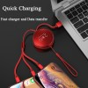 3 in 1 Retractable Flexible Multiple Charging Cable USB Charger Cord with Lightning/Micro USB/Type C Fast Charge Universal Compatible for iPhone iPad Samsung Android Cellphones