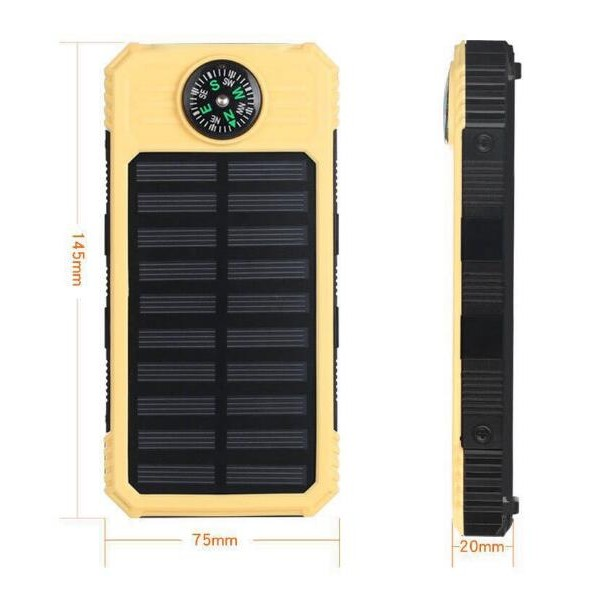 Solar Power Bank, Portable Charger 20000mAh External Battery Pack Micro Input Port Dual   Flashlight, Compass and Portable Carabiner and Compass Design(Splashproof, Dustproof,   Shockproof,Solar Panel Charging, DC5.5V/2A Input)Power banker