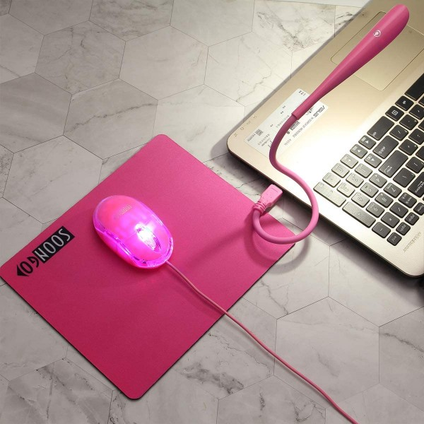 Mouse Pad Kids Mouse for Laptop USB LED Light 3 in 1 Gift Combo Mice Pad Non-Slip Rubber Base Touch Dimmable Flexible USB Laptop Reading Lamp for Computer Laptop Home Office Travel by SOON GO