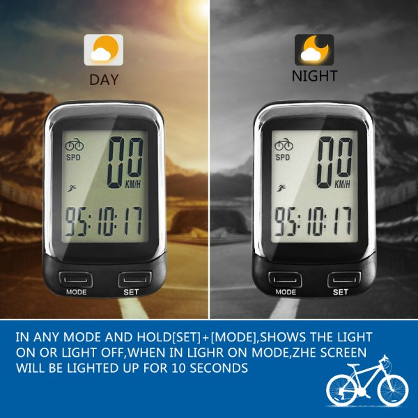 SOON GO Bike Computer Wireless Waterproof MPH&KM Cycle Speedometer Multifunctional Bicycle Accessories Large LCD Display Backlight