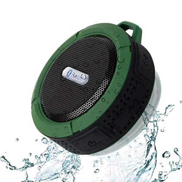 Bluetooth Speaker Waterproof Hand-Free Call Card Accent Gun with Suction Cup Hook Convenient Outdoor Speaker