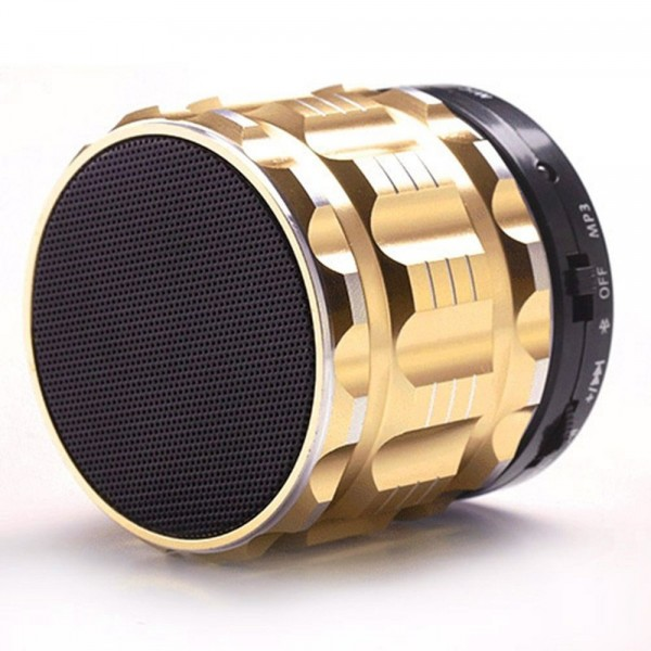 Portable Mini Super Bass Stereo Bluetooth Speakers Metal Steel Wireless Audio Player with Mic FM Radio Support TF Card for iPhone Samsung Smartphone PC Tablet