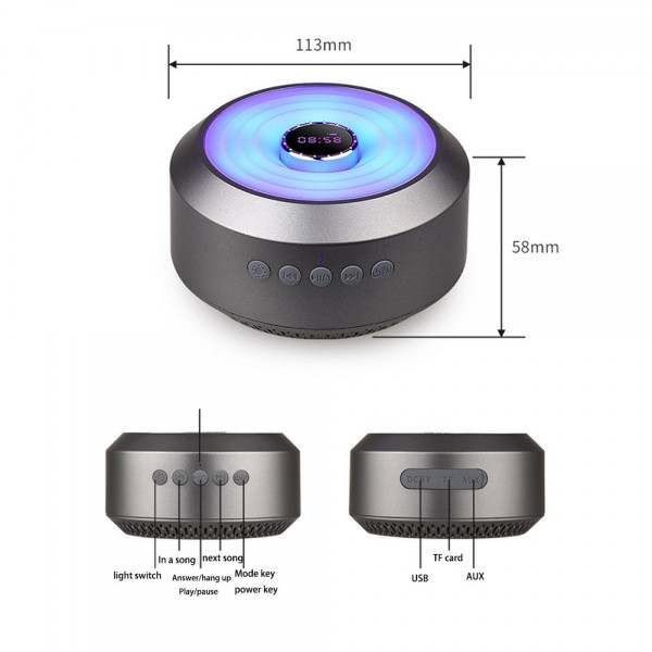 Wireless Bluetooth Speaker,BOOMER VIVI Mini Portable Metal Speaker with LED,Clock,10-Hour Playtime, Rich Bass,Built-in-Mic,Hands-free Call,AUX Line,TF Card,HD Sound