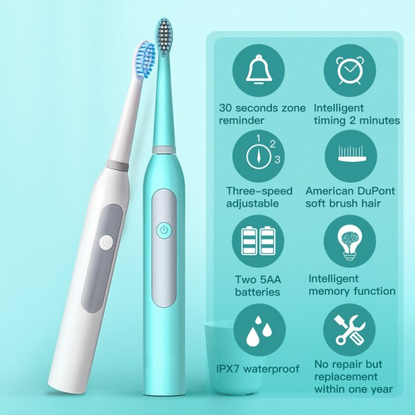 Electric Toothbrush Whitening 3-Speed Adjustable High-frequency Waterproof IPX7
