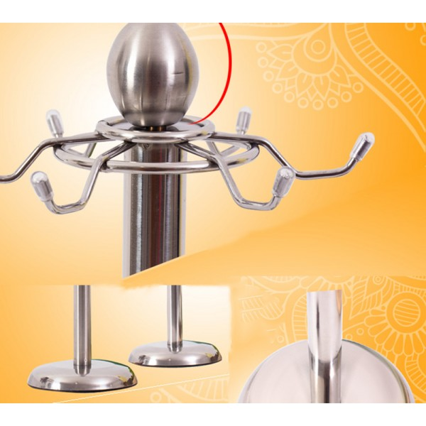 Kitchen Tools Utensil Holder, Metal Kitchen Storage Tool Truner Spoon Rotating Holder Stand with 6 Hooks